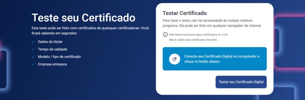 Página de Teste seu Certificado - Serasa Experian