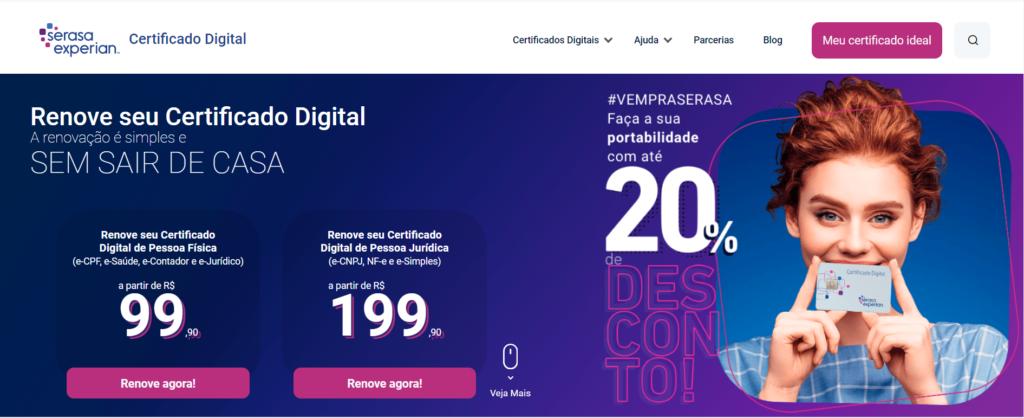 Página de Renovação - Certificado Digital